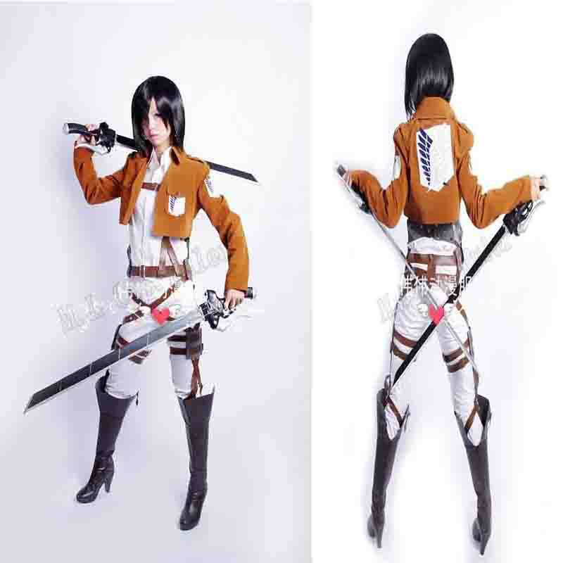Attack on Titan Shingeki no Kyojin Mikasa Ackerman Ellen Cosplay Costume Fullset +Belts