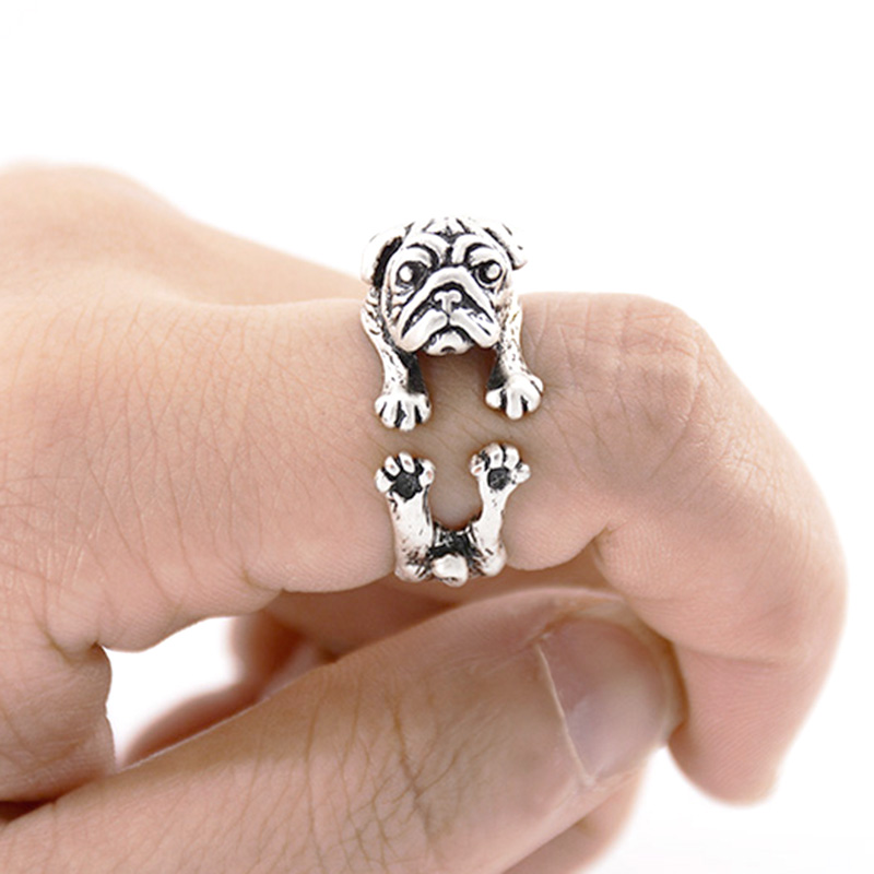 Vintage Love Pug Wrap Ring Boho Bulldog Anel Feminino Mini Dogs Rings For Women Men Jewelry Best Friend Gift Bijoux Anillos Muje