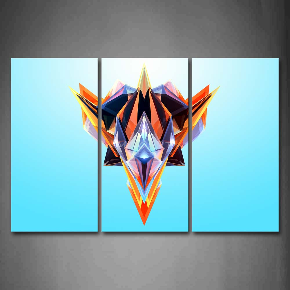 3 Piece Wall Art Painting Facets Light Blue Background Colorful ...