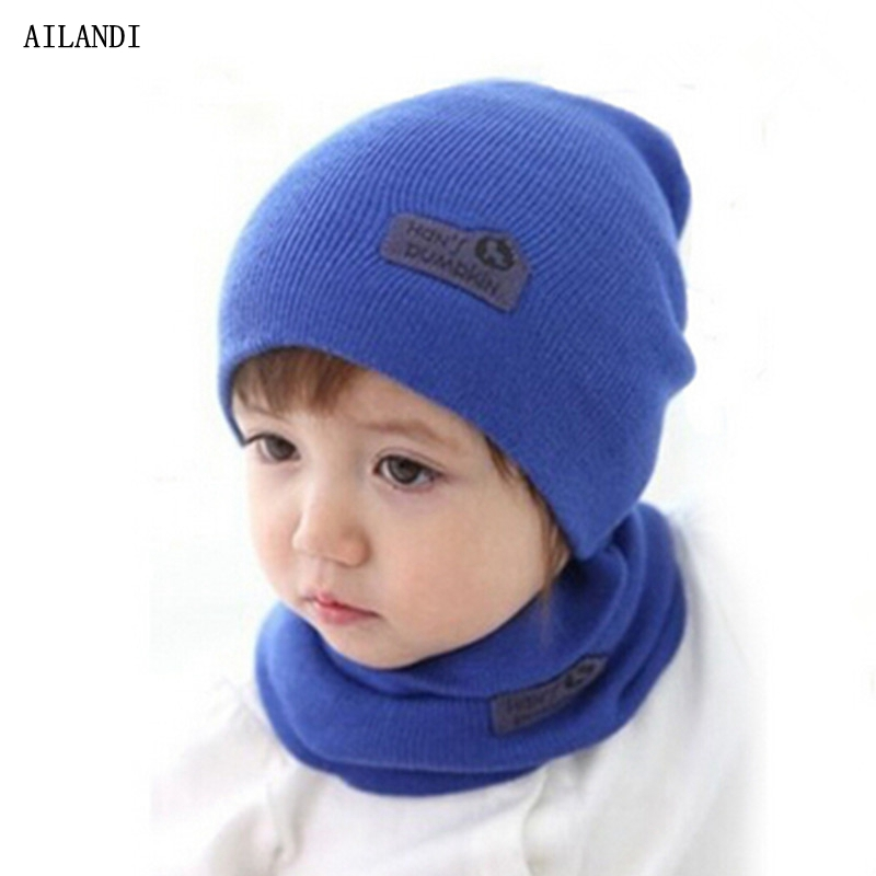 5 Color Casual Hedging Crochet Child Hat Warm Letter Knitted Kids Hats For Unisex Solid Wool Baby Winter Caps + Scarf Suits