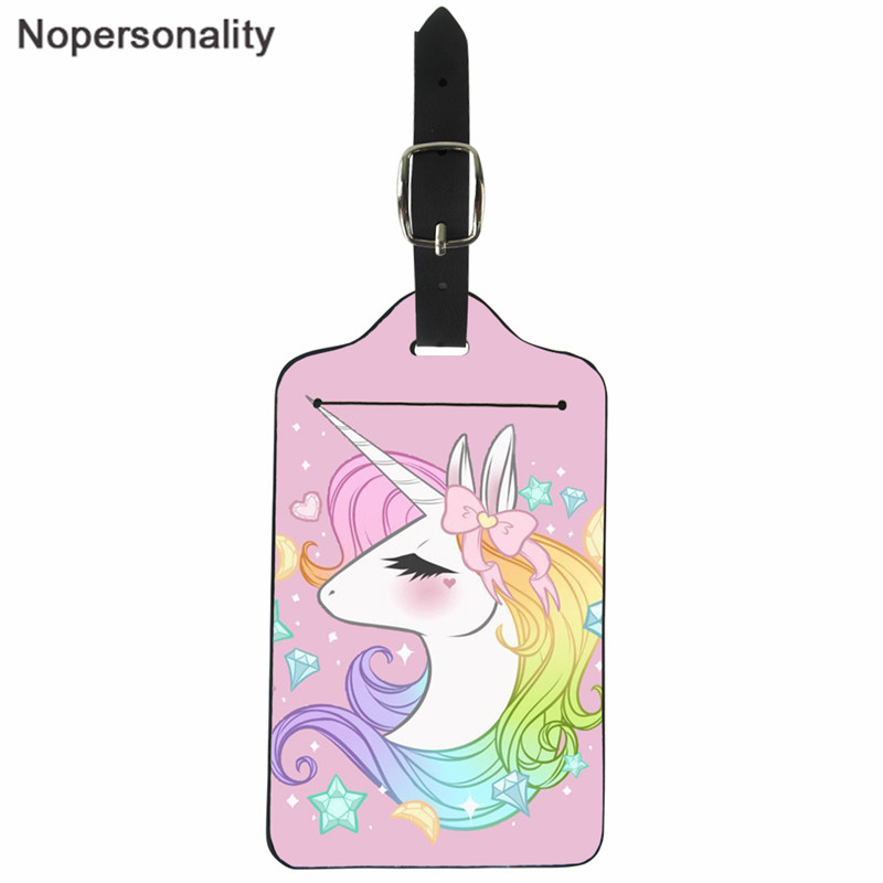 Nopersonality Pink Rainbow Unicorn Cartoon Luggage Tags Girls Suitcase ID Address Holder Baggage Boarding Tags Portable Label(China)