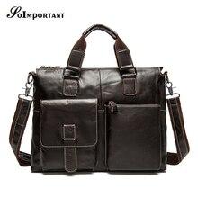 Cowhide Luxury Laptop Bag Mens Briefcase Genuine Leather Handbag Executive Business Shoulder Bag Travel Bolsos Maletin Hombre