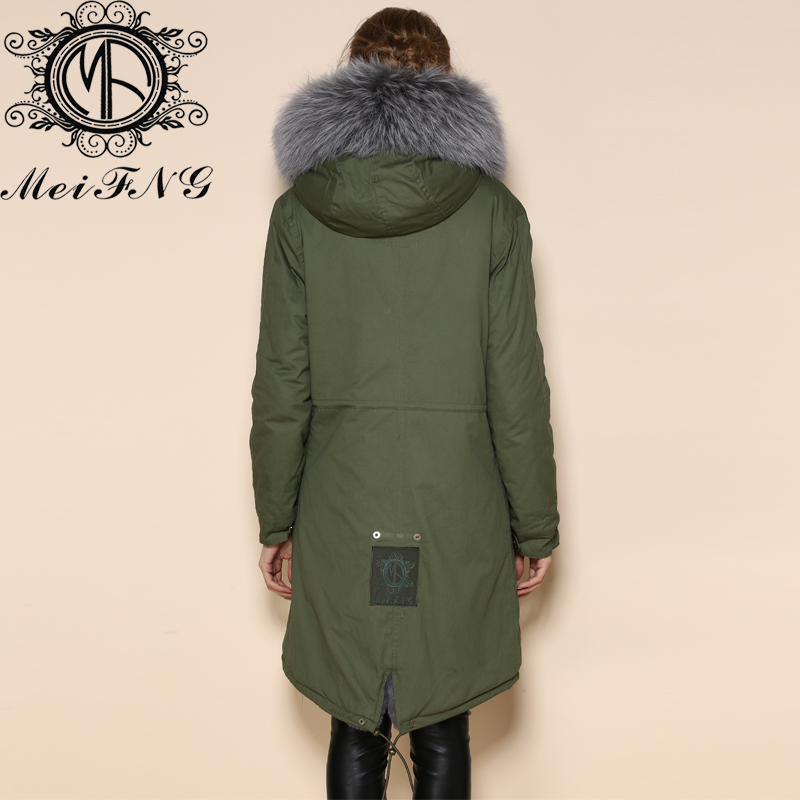 Elegant Design grey long jacket real fur removable collar hooded ...