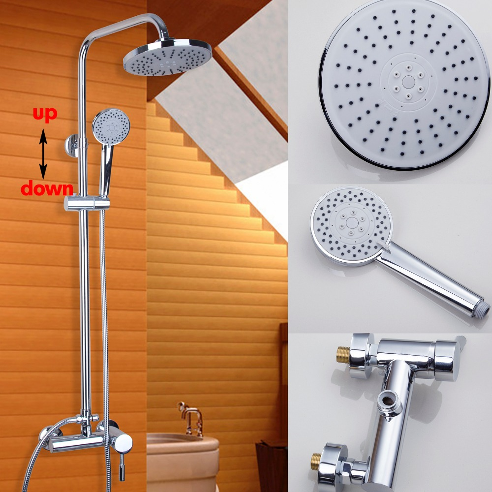 Faucet Bathroom  Handheld Shower Bathtub Mixer Tap Polished Chrome Wall Mount Big Rain Shower Set Mixer hot&cold Tap new chrome finish wall mounted bathroom shower faucet dual handle bathtub mixer tap with ceramic handheld shower head wtf931