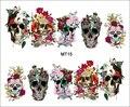 1 Hoja de Uñas MT15 Completo Cubierta de Flores Cráneo de La Corona de Uñas de Moda Transferencia de Agua del arte de la Etiqueta engomada Para Nail Tips Nail Herramientas Del Tatuaje