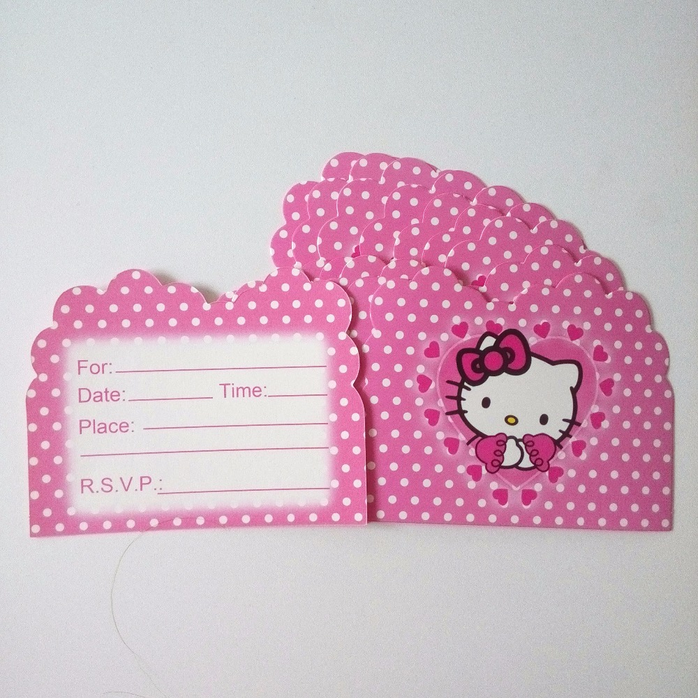 popular hello kitty invitations buy cheap hello kitty invitations 10pcs hello kitty invitation card cartoon theme party for kids birthday decoration theme party supply festival