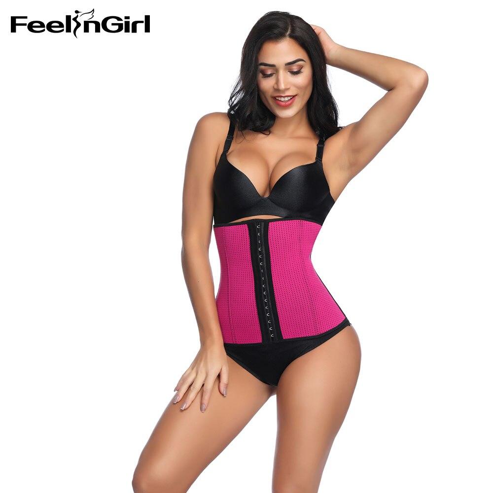 FeelinGirl Luxe S~4XL Waist Shaper Corset Sexy Women 100% Latex Waist Cincher Trainer Slimming Shapewear-E