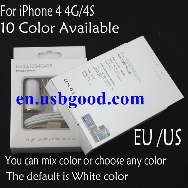usb car mobile phone AC charger,USB data cable,charger for iphone4s/4/3G,3 in 1,free shipping