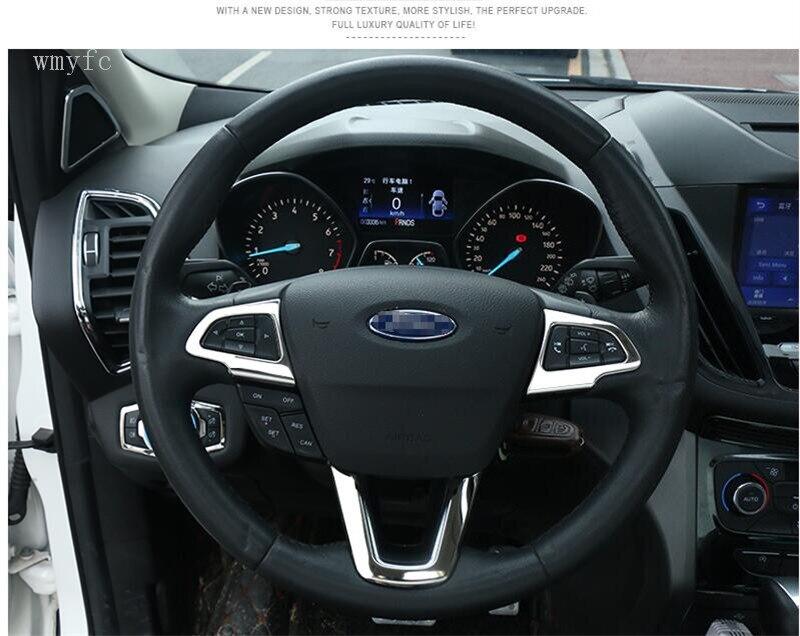 Автомобильный 304 из нержавеющей стали защитный чехол на руль накладка наклейки для Ford Kuga Escape 2017 2018 2019 части 3 шт.