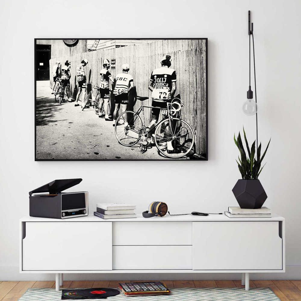 Black and White Bicycle Cyclist Print Bike Vintage Photo Poster Gift for Bathroom Decor Men Peeing Pissing Road Cycling Wall Art