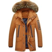 Плюс Размер M-3XL Новых людей Твердые Толстые Зимой Теплый Большой Искусственный меховой Воротник Белая Утка Вниз Пальто Куртки Для Мужчин Зима, 4 Цвета, 1651