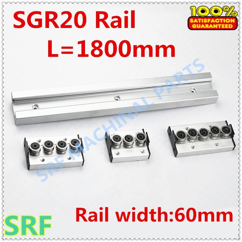 Type carré rouleau de rail de guidage linéaire SGR20 rouleau glissière L = 1800mm + 1 pièces SGR20 roue bloc coulissant