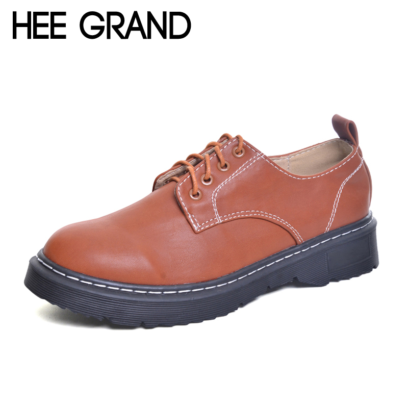 HEE GRAND 2017 Brogue Shoes Lace-Up Platform Oxfords Shoes Woman Casual PU Patent Leather Creepers Autumn Fashion Flats XWD6076 bling patent leather oxfords 2017 wedges gold silver platform shoes woman casual creepers pink high heels high quality hds59