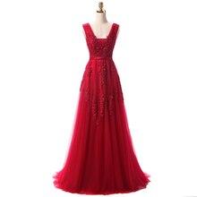 Günstige Lange Abendkleider 2016 Kostenloser Versand Vestidos De Festa Longo Elegante Burgund Abendkleider mit Spitze Appliques