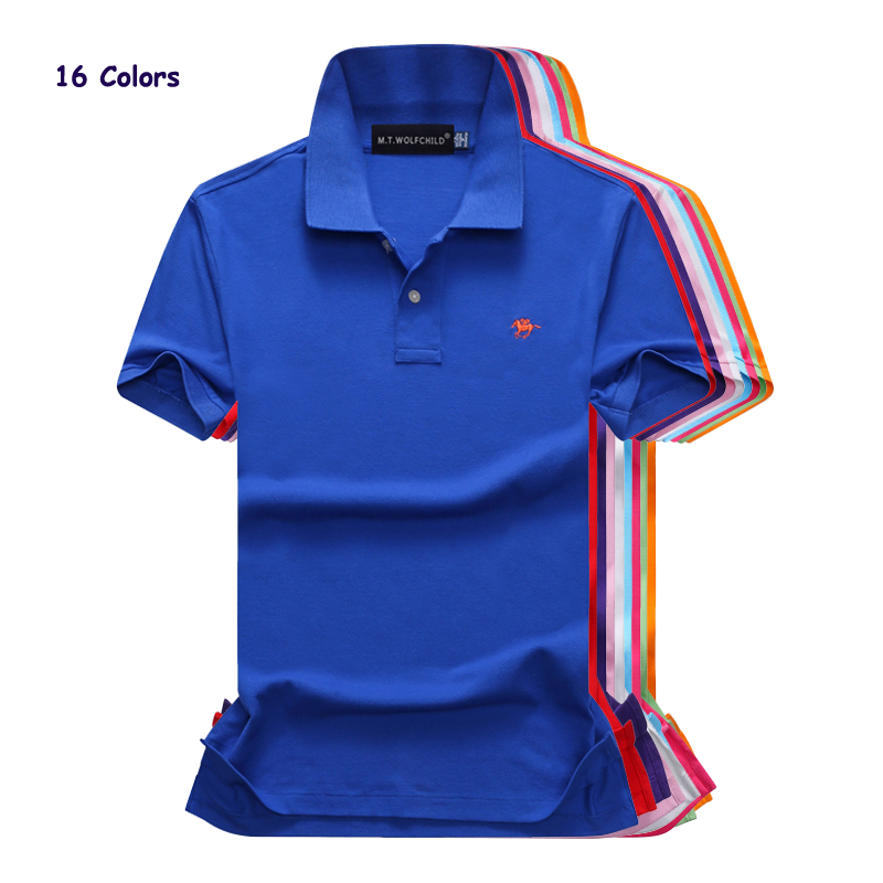 High quality 2018 Summer New mens short sleeve   polos   shirts small horse causal mens lapel   polos   shirts fashion slim mens tops
