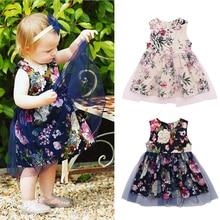цена на Rorychen Kids Baby Girls Beautiful Flower Dress Princess Summer Sleeveless Mini Tutu Dress White Black Baby Girls Wedding Dress