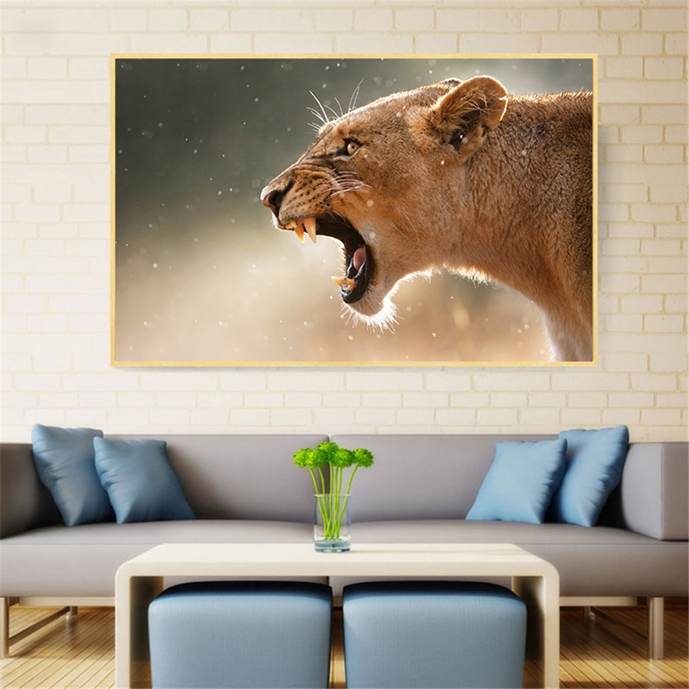 Modern Printed Animal Poster Lioness Aggression Lion Painting Wall Pictures for Living Room Wall Art Cuadros Decoration Salon