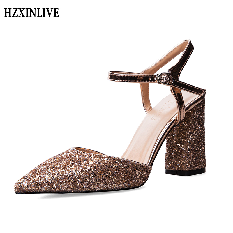 HZXINLIVE Women Sandals High Heel Shoes 8 cm High Heels Ladies Luxury Footwear Women Pumps Silver Sexy Female Solid Square Heels hzxinlive elegant summer sandals women high heel wedges shoes woman round toe roman sandals ladies footwear female casual shoes
