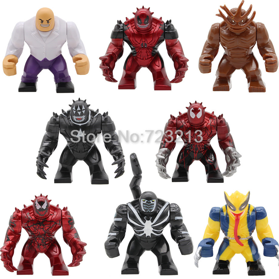 Super Hero Big 7cm Carnage Figure Kingpin Agent Venom Wolverine Toxin Coyote Black Dwarf Building Blocks Set Bricks Toys Legoing