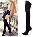 2016 Outono Inverno Botas Mulheres Estiramento Magro Coxa Botas Altas Moda Sexy Sobre o Joelho Botas de Salto Alto Mulher Sapatos de Salto De Metal