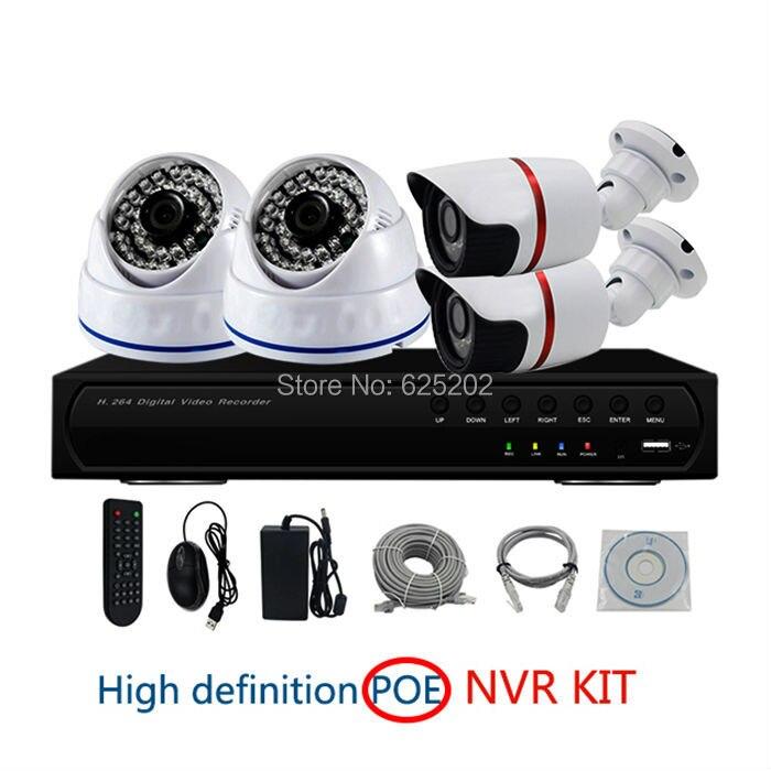 PoE NVR Kity 4ch 1080 P 2.0mp закрытый пластиковый купол и открытый металл пуля камеры видеонаблюдения системы