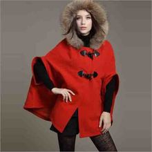 Large Size Clothing Woman Jacket Spring And Autumn 2017 Fur Hooded Cape Wool Coats Manteau Women Poncho Cloak(China)