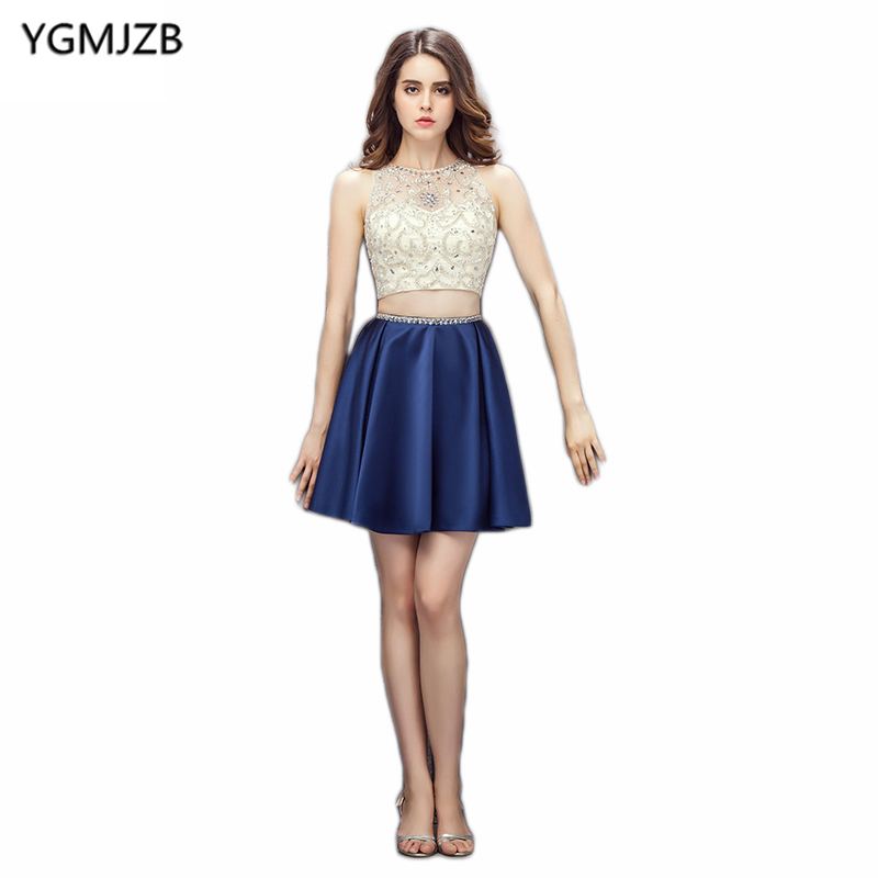New Fashion Short Cocktail Dresses 2019 A Line Sheer Back Beaded Crystal Blue Short Dress Two Piece Party Dress Robe De Cocktail