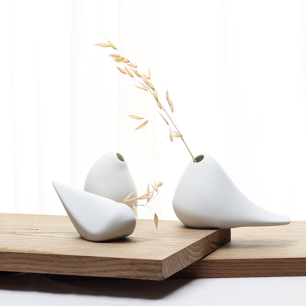 Novel Ceramics Abstract Birdie Flower Vase Set Pottery Jardiniere Craft Ornament Accessories for Home Decor and Art Collection