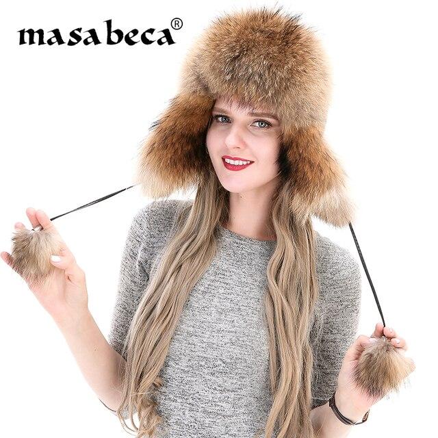 2159b1fc4d3 Genuine Fur Winter Cap Women Designer Ear Muff Fashion Brand Lady Fluffy  Real Fox Fur Beanies Fashion Lady Russian Ushanka Caps