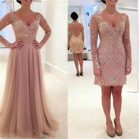Amazing bridal gown with Detachable Train Long Sleeves Lace Beaded vestido de noiva Formal Mother of the Bride Dresses