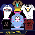 Game OW D.VA/Tracer/76/McCree/Pharah all Heros Cosplay t-shirt Summer Top tshirt in stock free shipping 2016