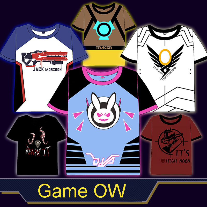 Game <font><b>OW</b></font> D.VA/Tracer/76/McCree/Pharah all Heros Cosplay <font><b>t</b></font>-<font><b>shirt</b></font> Summer Top tshirt in stock free shipping 2016 image