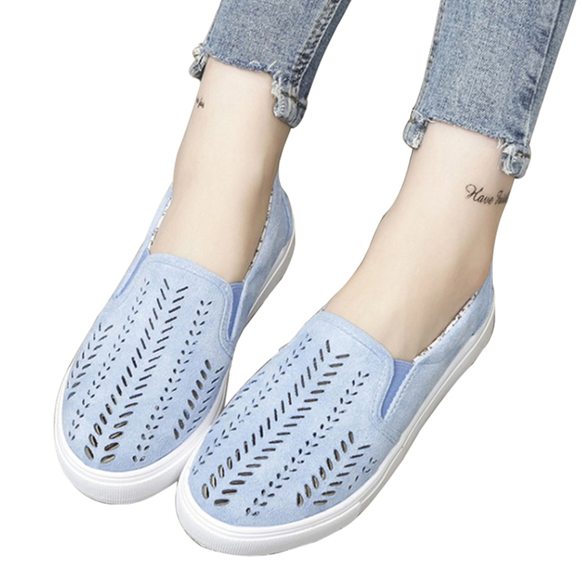 MCCKLE Women Cut-outs Elastic Band Vulcanized Shoes Female Flock Slip-on Shallow Breathable Flat Casual Shoes Woman Plus Size