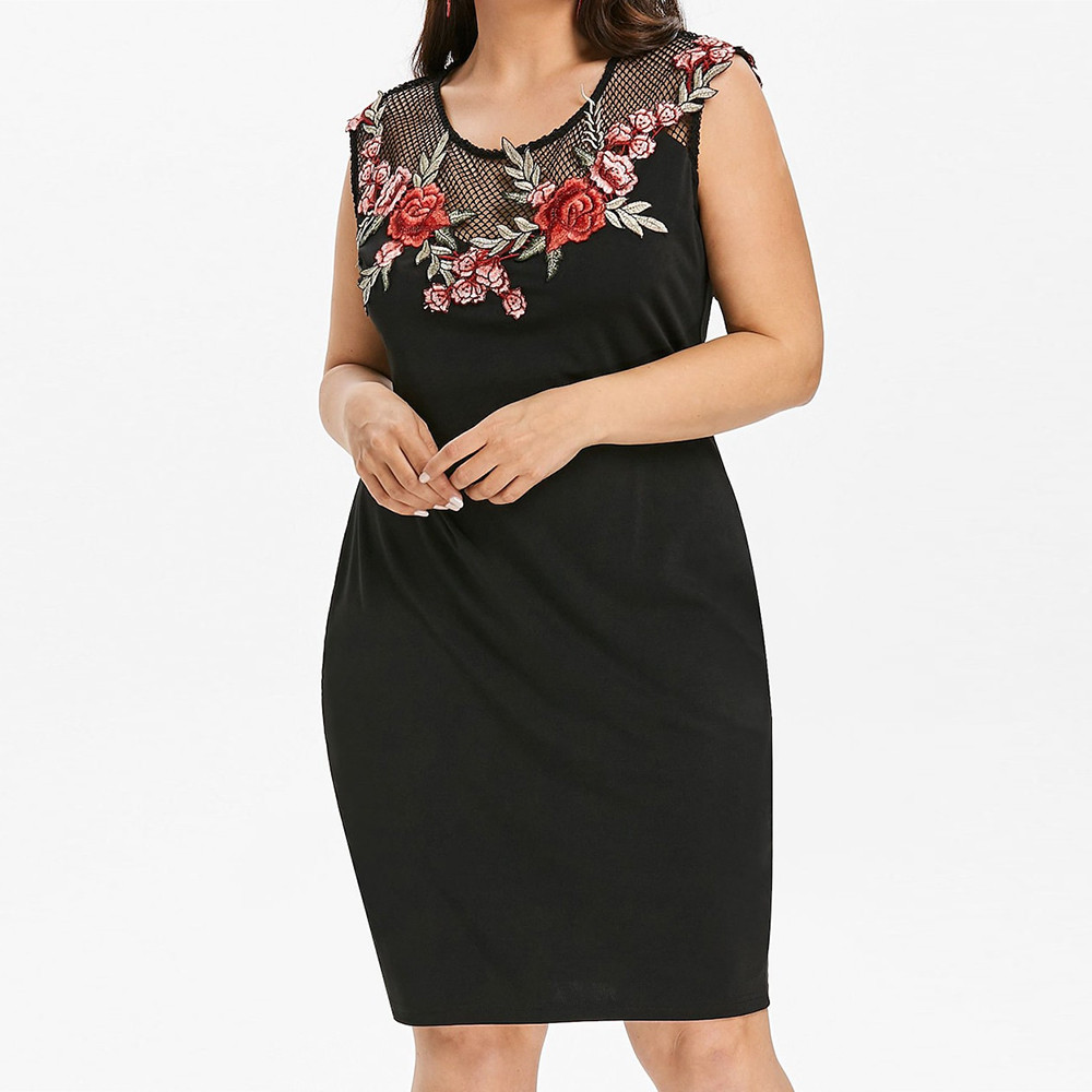 vestidos verano 2018 Women Summer Dress Plus Size Applique Grenadine Patchwork Sleeveles ...