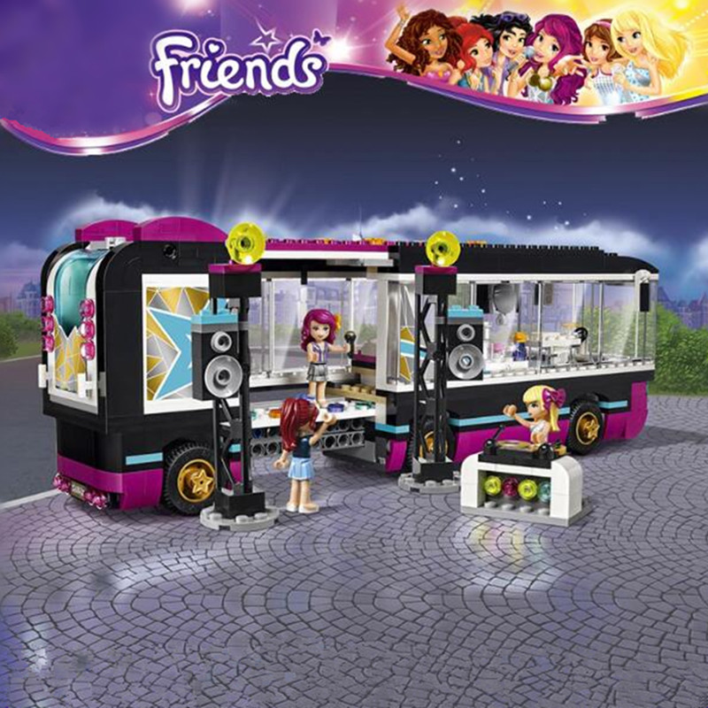 684pcs Bela diy Girl Friends series Pop Star Tour Bus model building blocks Compatible With Legoingly 41106 bricks toys figure gonlei 10407 friends pop star tour bus building blocks sets bricks toys girl game house gift compatible with