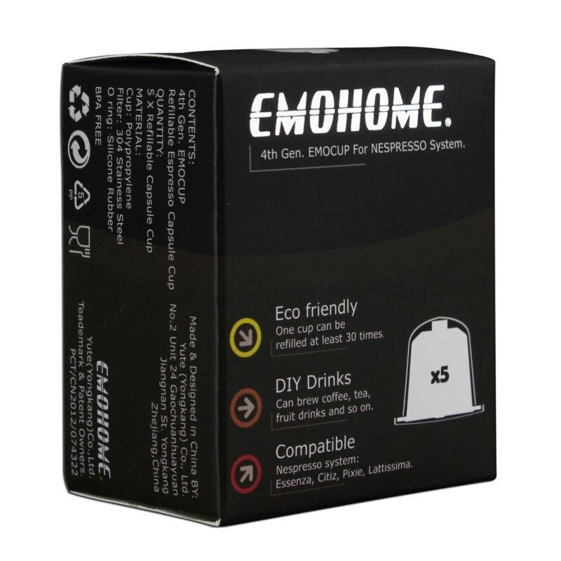 EMOHOME 5 pcs un ensemble Espresso rechargeables Capsules de Café réutilisable vide pod compatible avec Nespresso machines Utilisent 150 fois plus