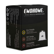 EMOHOME 5pcs a set Espresso refillable Coffee Capsules reusable empty pod compatible with Nespresso machines Use 150 times more