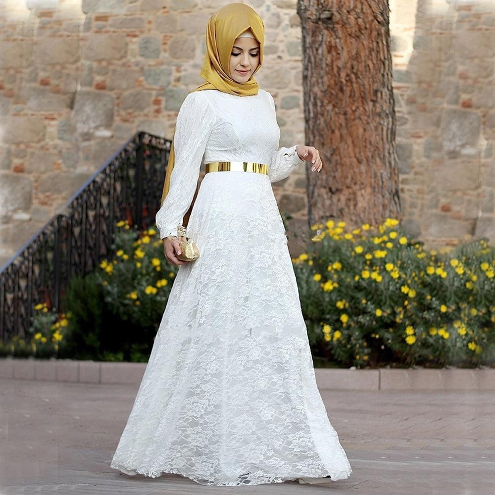 A Line Lace Long Sleeve Muslim Wedding Dress With Gold Hijab muslim wedding dresses