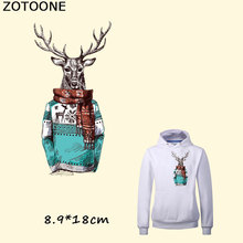 ZOTOONE Christmas Deer Iron on Transfer Patches Heat Ironing Stickers for DIY Clothes T-shirt Super Washable Kids F