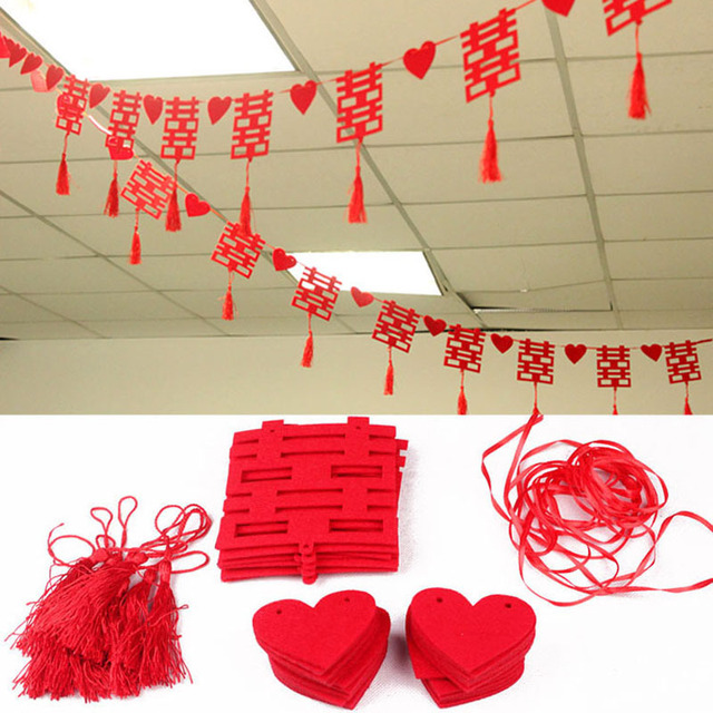 3m Long Chinese Character Wedding Accessories Red Double Hiness Part Decorations Home Party Room Hanging Banner Za1841
