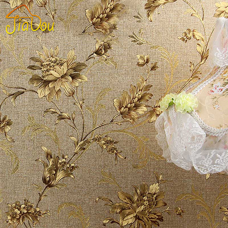 Buy luxury floral wall paper modern for Gold wallpaper for walls