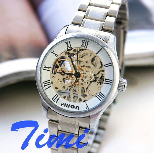 wholesale Wilon Mens Stainless Steel Mechanical Skeleton Watch sliver  wholesale wilon mens stainless steel mechanical skeleton watch