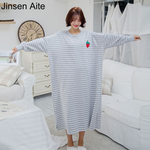Jinsen Aite Cotton Women Nightgowns Spring Autumn Long Sleeve Casual Loose Striped Large Size Comfortable Sleepwear Dress JS735