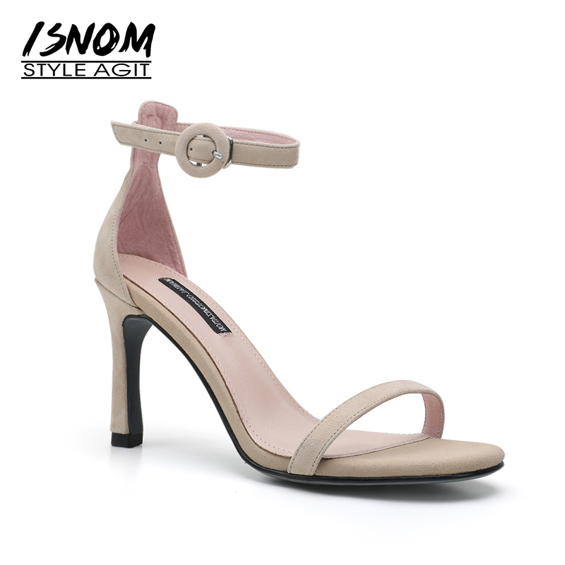 ISNOM Summer Thin High Heels Sandals Women 2018 New Fashion Party Kid Suede Ladies Shoes Open Toe Sandals Ankle Strap Footwear isnom summer high heels sandals women kid suede square heels buckle open toe back strap footwear office 2018 brand ladies shoes
