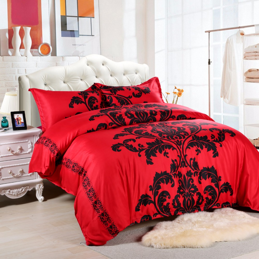 Black and red bed sheets - European Style Red Black Printing Bedding Sets 3pcs Queen 228x228cm Bedclothes Bed Linen Duvet Cover Set