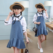 2019 New Teenager Girls Denim set Summer Children Clothing Casual Kids Suspender dress + shirt 2 pcs Jeans for 5 6 8Y TTX65