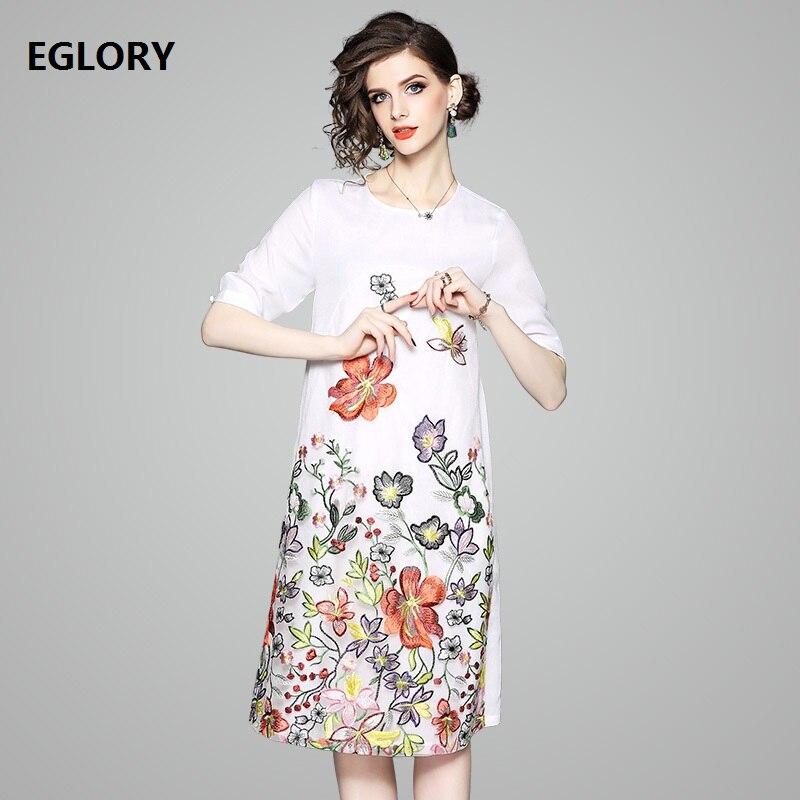 Здесь продается  New Brand Chinese Style Dress 2018 Summer Woman Lurex Embroidery Floral Short Sleeve Straight A-Line Vintage White Yellow Dress  Одежда и аксессуары