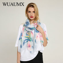 Wuaumx Brand Spring Autumn Women Scarf Dot Floral Pattern Scarfs Wraps Hijab Ladies Scarves Long Shawl foulard femme Wholesale