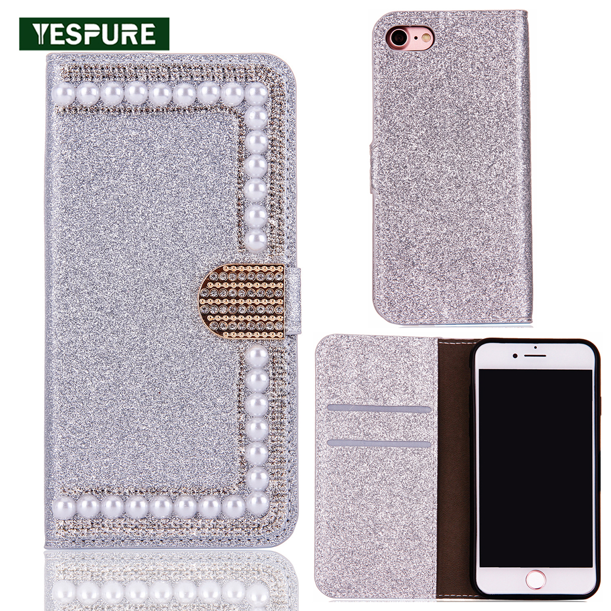 YESPURE TPU+Leather Bling Luxury <font><b>Coque</b></font> for <font><b>Iphone</b></font> 6 <font><b>6s</b></font> <font><b>Fille</b></font> Glitter Cell Phone Covers Stand Fancy Leather Cases for Girls image