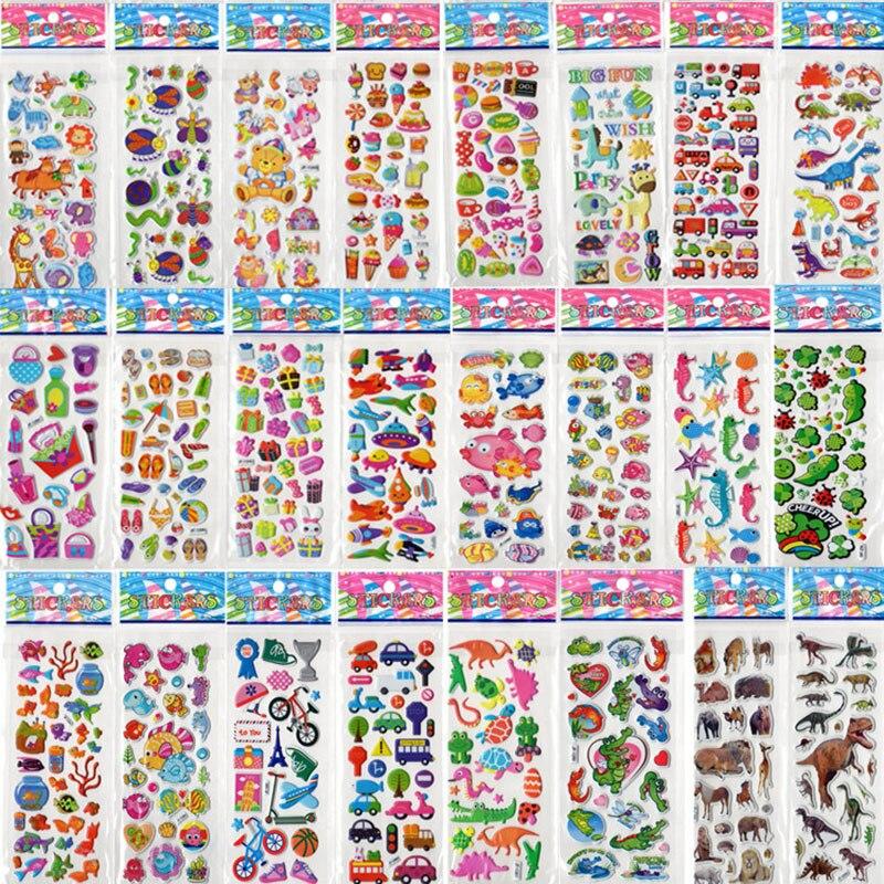 100pcs Children Cartoon Flower Butterfly Bubble Stickers/ Kids Baby Kingergarden School Teacher Reward Sticker, Free Shipping